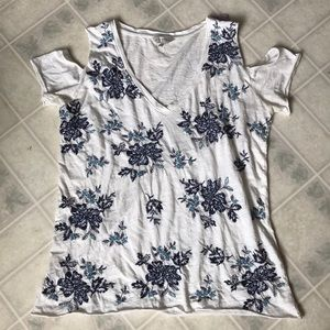 Lucky Brand XS cold shoulder embroidered Tank